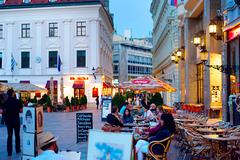 Night life in bratislava city center Stock Photos