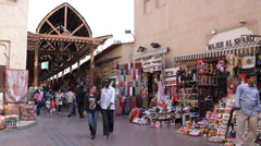 Traditional Shopping Mall Arabian Old Souq Souk Dubai People Merchants Bazaar Stock Footage