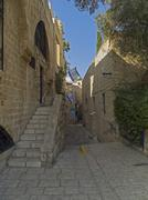 street in the ancient part of jaffa - stock photo