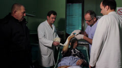 Bandage arm,doctor and technician,putting bandage,plaster,cast.Hand close up. Stock Footage