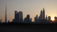 Stock Video Footage of Sunrise Sunset World Tallest Building Burj Khalifa Dubai Skyline Cityscape City