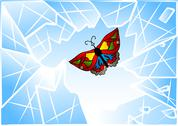 Stock Illustration of butterfly smashed window