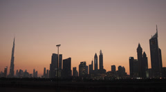 Dubai Skyline Dusk Urban Scene Famous United Arab Emirates UAE Middle East Asia Stock Footage