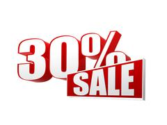 30 percentages sale in 3d letters and block Stock Illustration