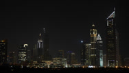 Stock Video Footage of Night Urban Scene Street View Evening Lights Corporate Building Emirates Towers