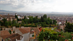 View of the Arab quarter in Granada from a wall of fortress of Alhambra, Granada Stock Footage
