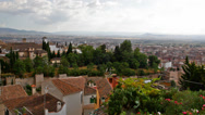 Stock Video Footage of View of the Arab quarter in Granada from a wall of fortress of Alhambra, Granada