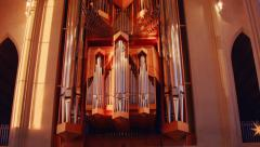 Reykjavik Church Pipe Organ Stock Footage