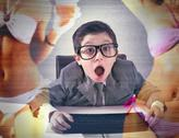 Stock Illustration of child shocked by sexy advertising