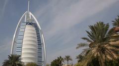 Famous Wild Wadi Waterpark Iconic Burj Al Arab Landmark Dubai Skyline Jumeirah Stock Footage