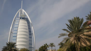 Stock Video Footage of Famous Wild Wadi Waterpark Iconic Burj Al Arab Landmark Dubai Skyline Jumeirah