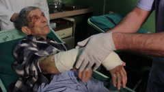 Bandage arm,doctor and technician putting bandage,plaster,cast.Hand close up. Stock Footage