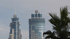 Famous Landmark Twin Complex JW Marriott Marquis Hotel Dubai Skyline Palm Trees Stock Footage