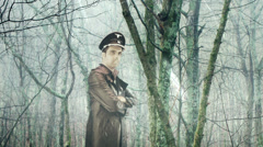 Nazi officer in snow Stock Footage