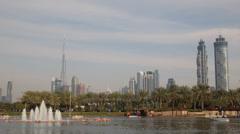 Safa Park Dubai Skyline Burj Khalifa People Enjoy Holiday Boat Ride Exotic Place Stock Footage