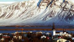 Reykjavik Church Mt. Esja Stock Footage