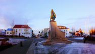 Stock Video Footage of Reykjavik Church Leif Eiriksson Statue