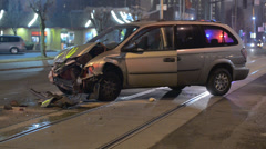 Vehicle Blocking Public Transit max Line After A Crash - stock footage