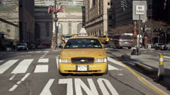 Taxi Cab on Park Avenue Manhattan New York City NYC Grand Central Station Stock Footage