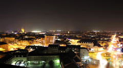 HD French City Aerial Timelapse Night Stock Footage