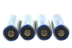 macro of rechargeable nimh batteries - stock photo