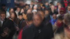 Crowd of people walking on street motion blur Stock Footage
