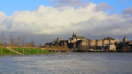 Stock Video Footage of French City Timelapse River, Clouds and Castle