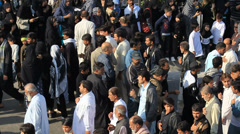 Overview of Chelum Procession in Karachi, Pakistan Stock Footage