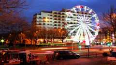 HD Ferris Wheel and Traffic Timelapse Stock Footage