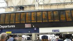 Flap display at Waterloo Railway Station, UK, England Stock Footage