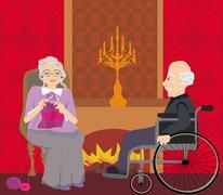 senior couple resting at home - stock illustration