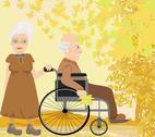 Senior couple in autumn day Stock Illustration