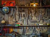 Stock Photo of vintage tools workshop