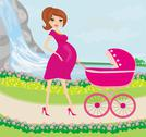 Stock Illustration of beautiful pregnant woman pushing a stroller with her daughter