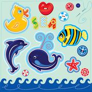 Set of buttons, cartoon animals and word sea - hand made cutout images and le Stock Illustration