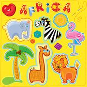 Set of buttons, cartoon animals and word africa - hand made cutout images and Stock Illustration