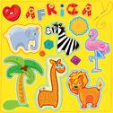 Stock Illustration of set of buttons, cartoon animals and word africa - hand made cutout images and