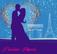 couple in love in paris - stock illustration