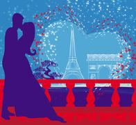 romantic couple in paris kissing near the eiffel tower - stock illustration