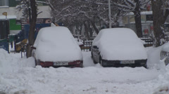 Cars Buried Under Snow Stock Footage
