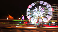 HD Ferris Wheel and Traffic Timelapse Wide Stock Footage