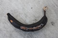Rotting banana, close-up Stock Photos