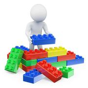 Stock Illustration of 3d white people. plastic toy blocks