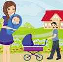 Stock Illustration of family for a walk on a sunny day