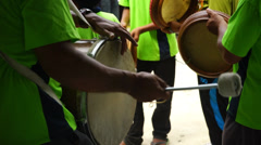 Man playing drum, Rebana Ubi in wedding ceremony, Malaysia Stock Footage