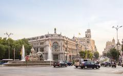 Bank of spain buiding and cibeles square in madrid Stock Photos