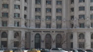 Stock Video Footage of Statistics Institute Building In Bucharest Close Up Tilt-Shot