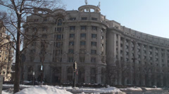 Ministry Of Justice Building In Downtown Bucharest Pan-Shot Stock Footage