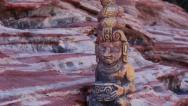 Stock Video Footage of Mayan Serpent Statue Artifact with Tilt Action