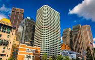 Stock Photo of cluster of skyscrapers in boston, massachusetts.